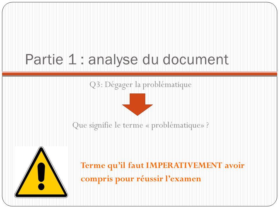 Partie 1 : analyse du document Q3: Dégager la problématique Que signifie le terme « problématique» ? Terme quil faut IMPERATIVEMENT avoir compris pour
