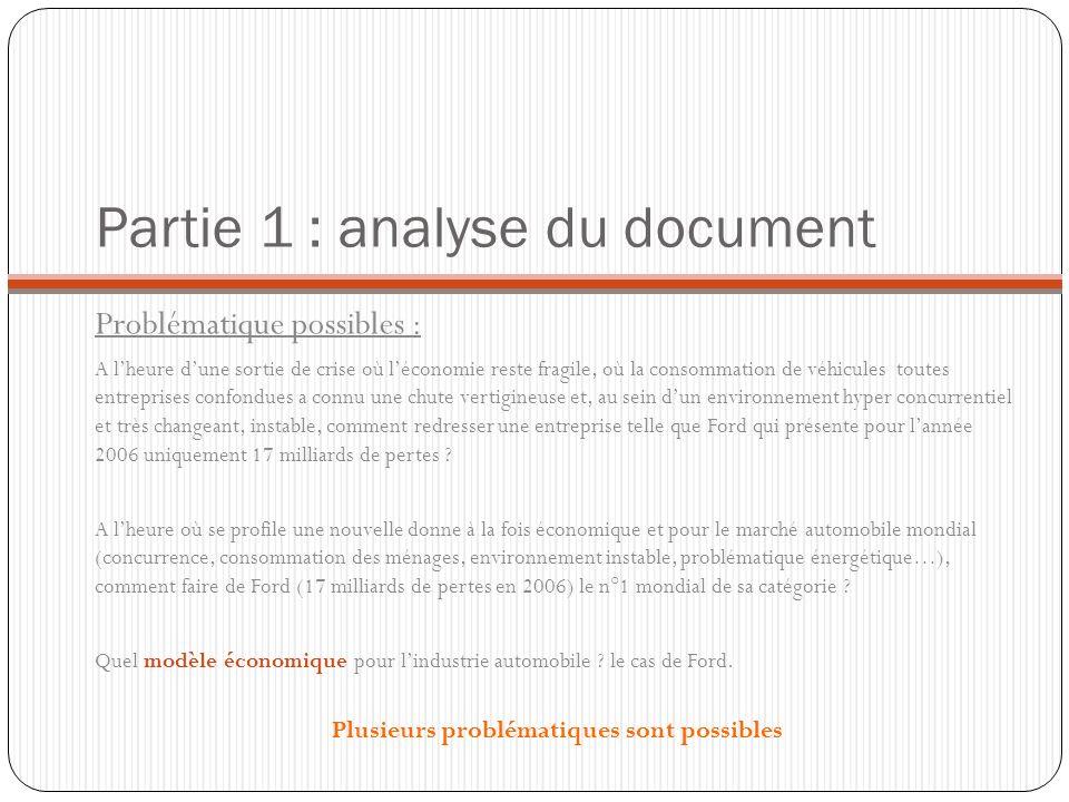 Partie 1 : analyse du document Problématique possibles : A lheure dune sortie de crise où léconomie reste fragile, où la consommation de véhicules tou