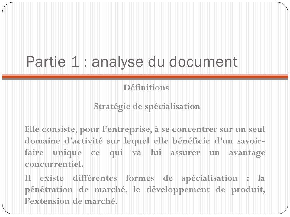 Partie 1 : analyse du document Définitions Elle consiste, pour lentreprise, à se concentrer sur un seul domaine dactivité sur lequel elle bénéficie du