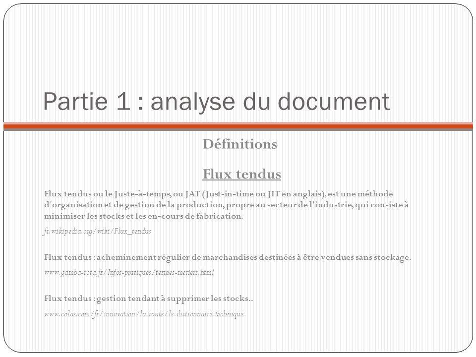Partie 1 : analyse du document Définitions Flux tendus ou le Juste-à-temps, ou JAT (Just-in-time ou JIT en anglais), est une méthode d'organisation et