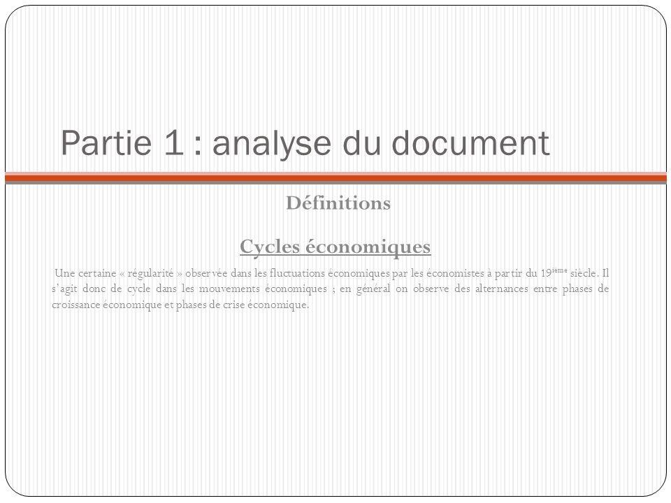 Partie 1 : analyse du document Définitions Une certaine « régularité » observée dans les fluctuations économiques par les économistes à partir du 19 i