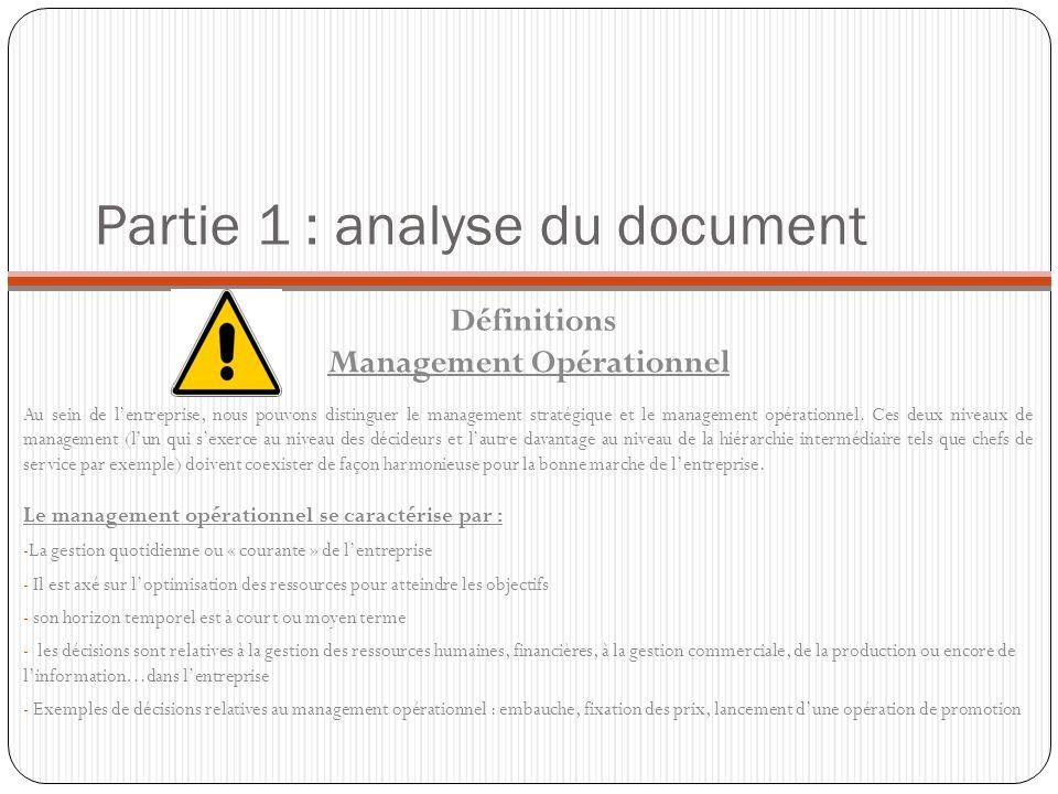 Partie 1 : analyse du document Définitions Management Opérationnel Au sein de lentreprise, nous pouvons distinguer le management stratégique et le man