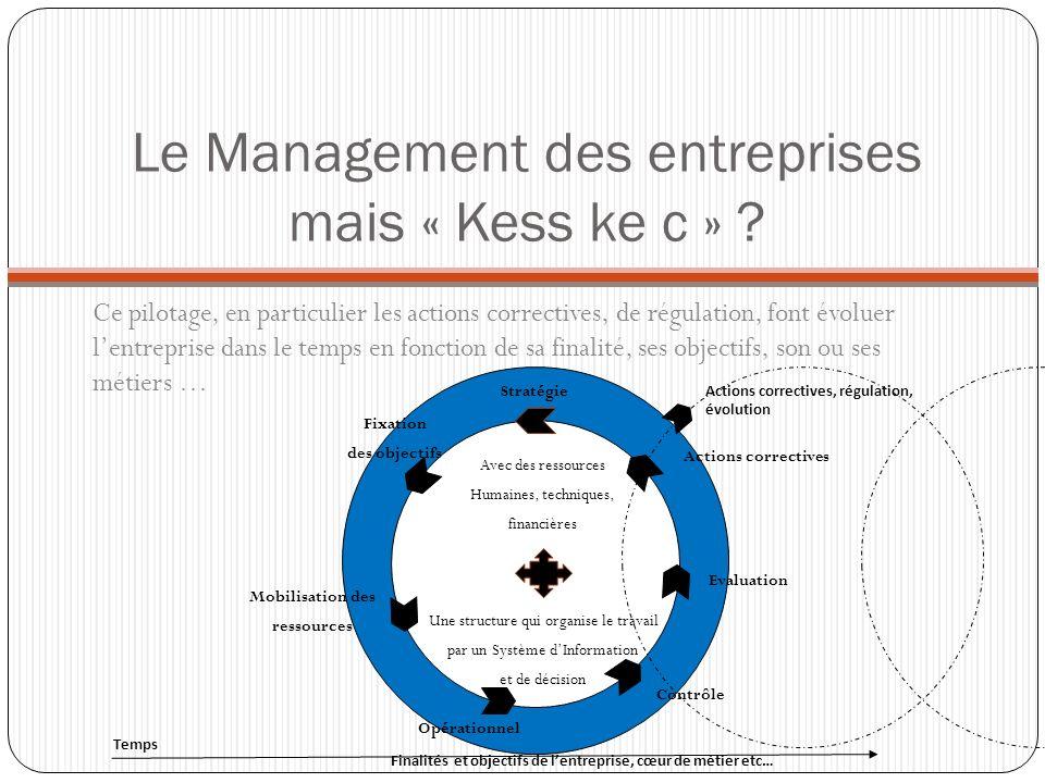 Le Management des entreprises mais « Kess ke c » ? Ce pilotage, en particulier les actions correctives, de régulation, font évoluer lentreprise dans l