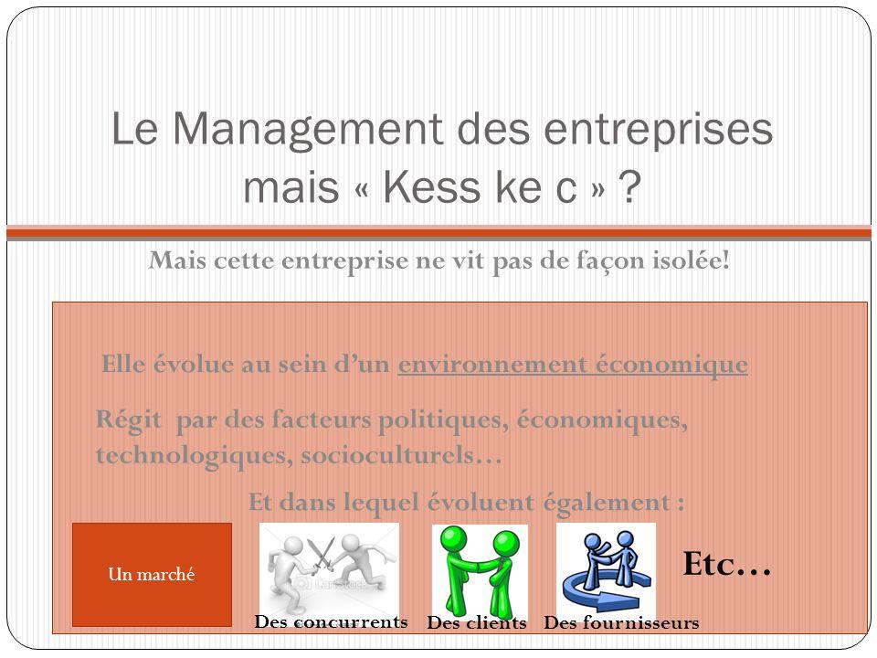 Le Management des entreprises mais « Kess ke c » ? Mais cette entreprise ne vit pas de façon isolée! Elle évolue au sein dun environnement économique