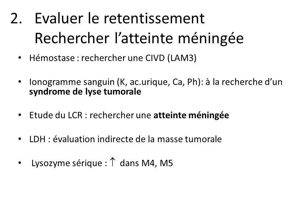 2.Evaluer le retentissement Rechercher latteinte méningée Hémostase : rechercher une CIVD (LAM3) Ionogramme sanguin (K, ac.urique, Ca, Ph): à la reche