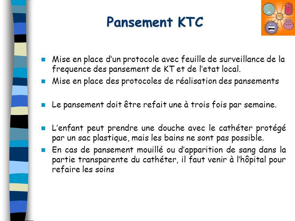 Pansement KTC Mise en place dun protocole avec feuille de surveillance de la frequence des pansement de KT et de letat local. Mise en place des protoc