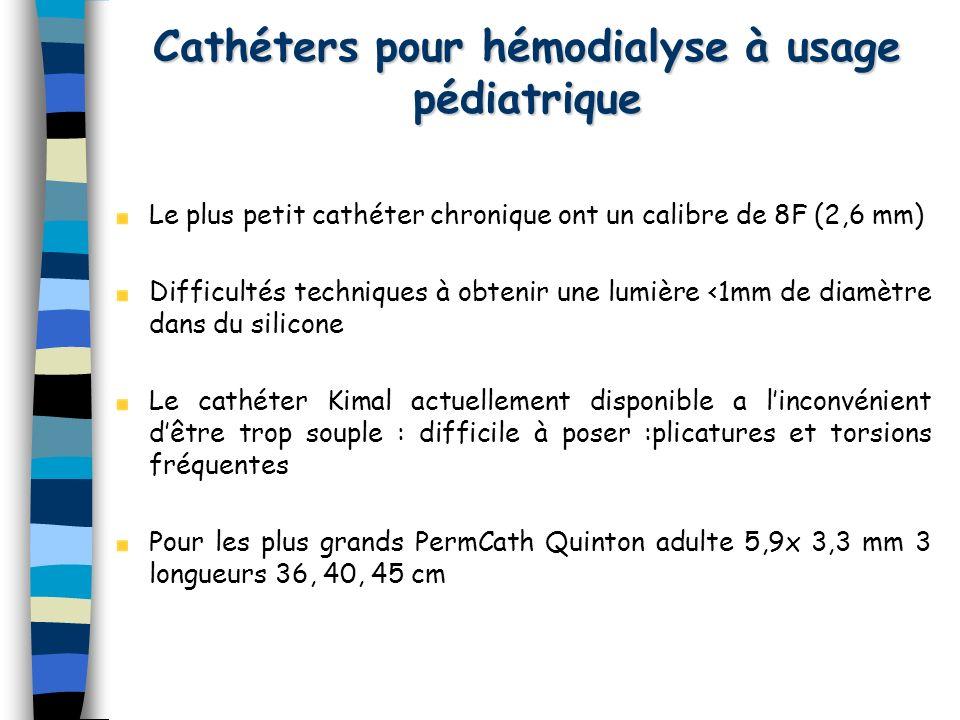 Le plus petit cathéter chronique ont un calibre de 8F (2,6 mm) Difficultés techniques à obtenir une lumière <1mm de diamètre dans du silicone Le cathé