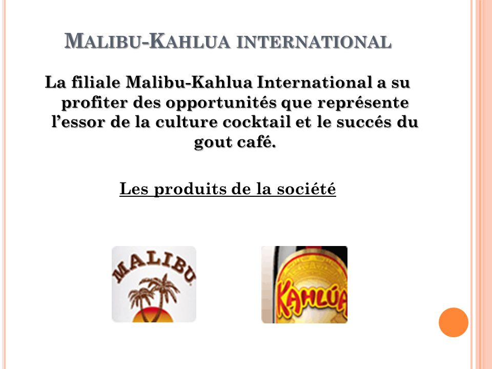 M ALIBU -K AHLUA INTERNATIONAL La filiale Malibu-Kahlua International a su profiter des opportunités que représente lessor de la culture cocktail et l