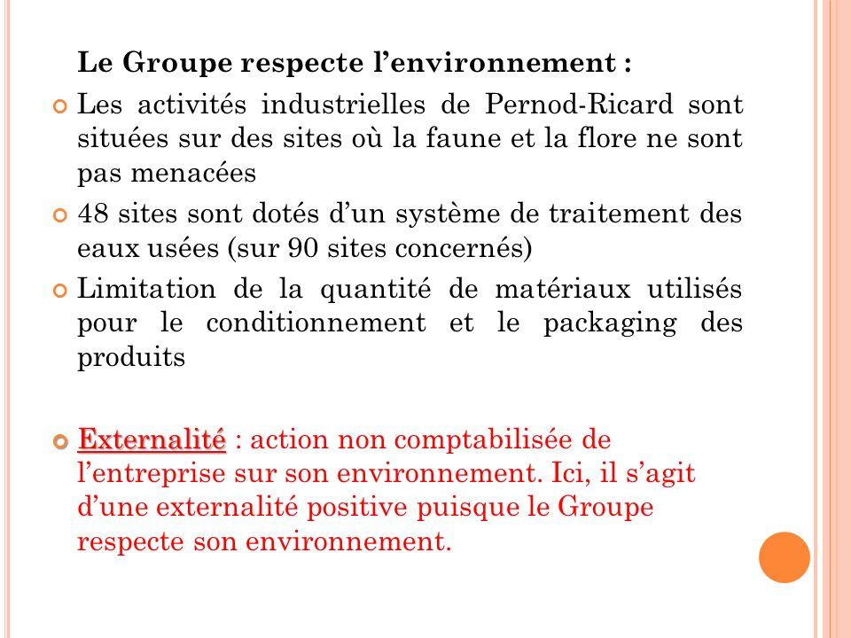 Le Groupe respecte lenvironnement : Les activités industrielles de Pernod-Ricard sont situées sur des sites où la faune et la flore ne sont pas menacé