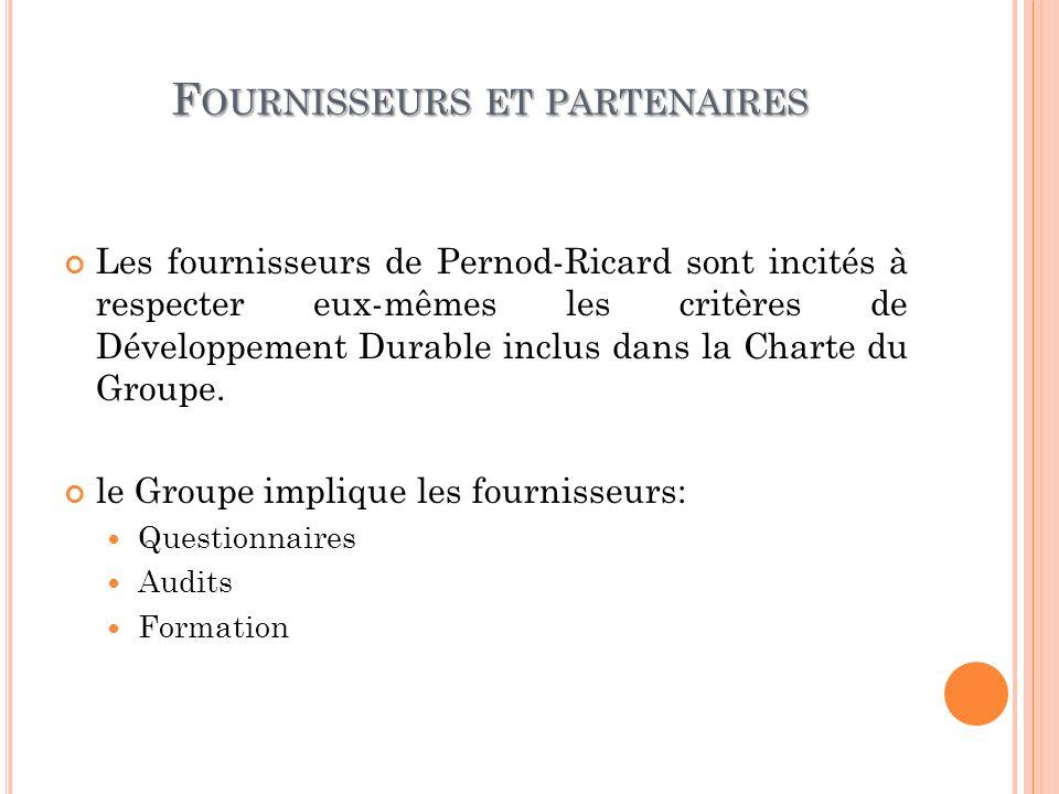 F OURNISSEURS ET PARTENAIRES Les fournisseurs de Pernod-Ricard sont incités à respecter eux-mêmes les critères de Développement Durable inclus dans la