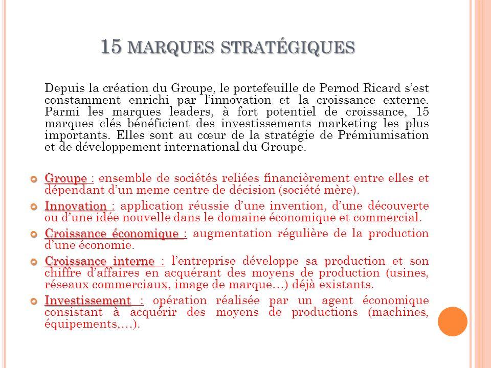 15 MARQUES STRATÉGIQUES Depuis la création du Groupe, le portefeuille de Pernod Ricard sest constamment enrichi par linnovation et la croissance exter