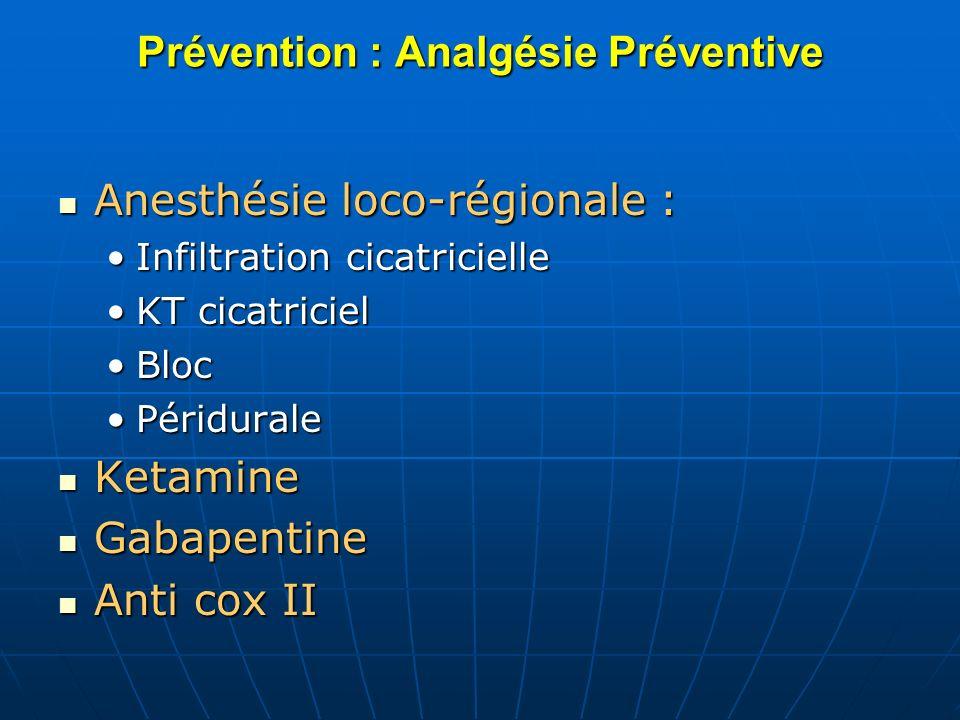 Prévention : Analgésie Préventive Anesthésie loco-régionale : Anesthésie loco-régionale : Infiltration cicatricielleInfiltration cicatricielle KT cica