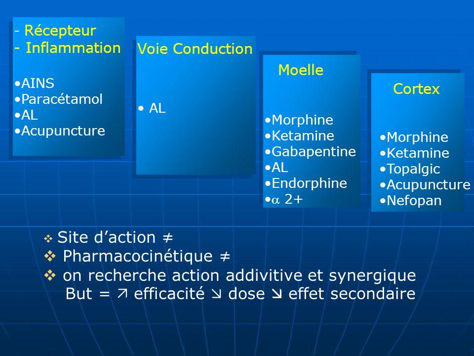 - Récepteur - Inflammation AINS Paracétamol AL Acupuncture Voie Conduction AL Moelle Morphine Ketamine Gabapentine AL Endorphine 2+ Cortex Morphine Ke