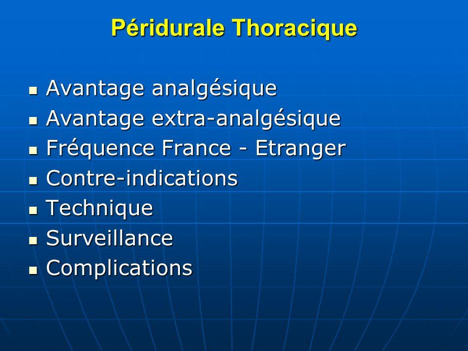 Péridurale Thoracique Avantage analgésique Avantage analgésique Avantage extra-analgésique Avantage extra-analgésique Fréquence France - Etranger Fréq