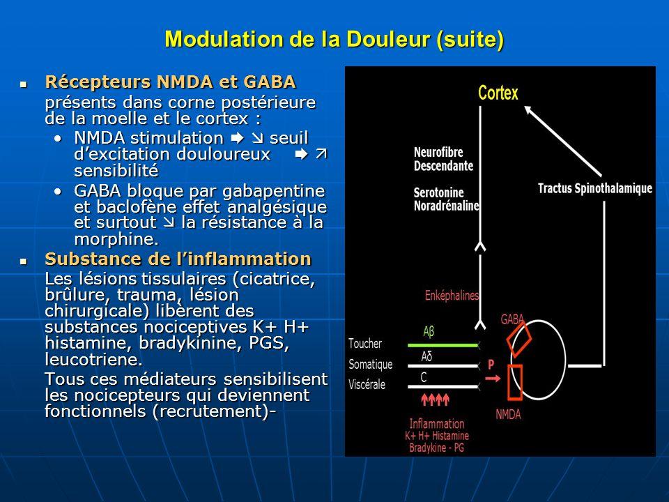 Modulation de la Douleur Théorie de la porte Théorie de la porte Si les influx qui empruntent les fibres de la douleur Ag dépassent en nombre les influx du toucher Aβ, la porte souvre, libération de substance P et influx douloureux chemine jusquau cortex.Si les influx qui empruntent les fibres de la douleur Ag dépassent en nombre les influx du toucher Aβ, la porte souvre, libération de substance P et influx douloureux chemine jusquau cortex.