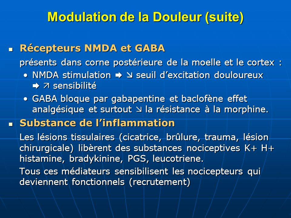 Modulation de la Douleur (suite) Récepteurs NMDA et GABA Récepteurs NMDA et GABA présents dans corne postérieure de la moelle et le cortex : NMDA stim