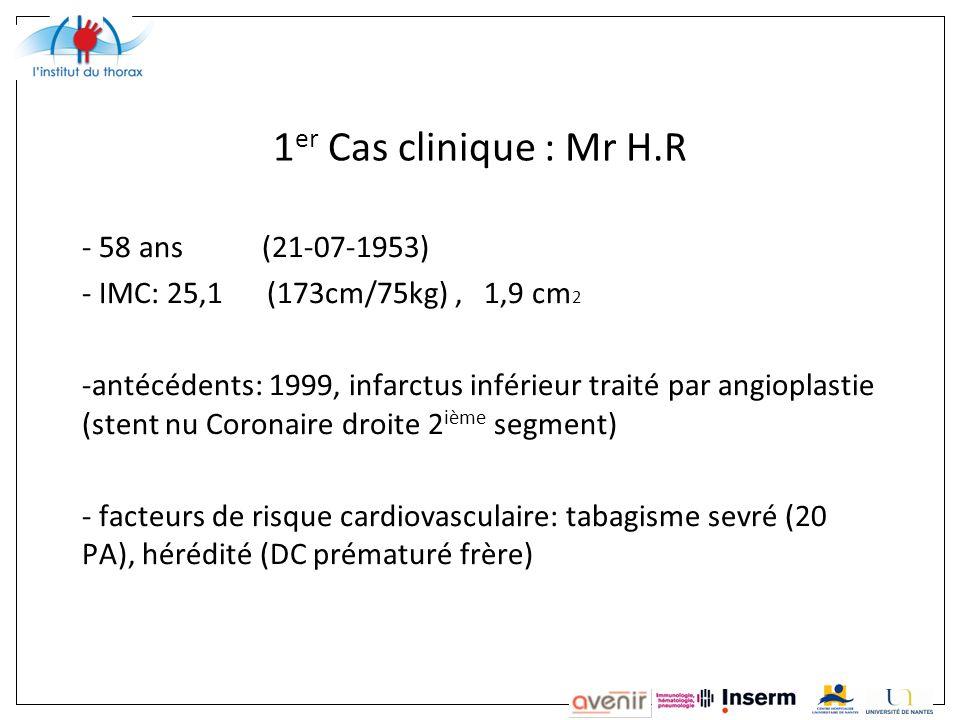 1 er Cas clinique : Mr H.R - 58 ans (21-07-1953) - IMC: 25,1 (173cm/75kg), 1,9 cm 2 -antécédents: 1999, infarctus inférieur traité par angioplastie (stent nu Coronaire droite 2 ième segment) - facteurs de risque cardiovasculaire: tabagisme sevré (20 PA), hérédité (DC prématuré frère)