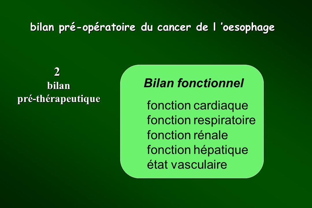 bilan pré-opératoire du cancer de l oesophage Bilan fonctionnel fonction cardiaque fonction respiratoire fonction rénale fonction hépatique état vascu