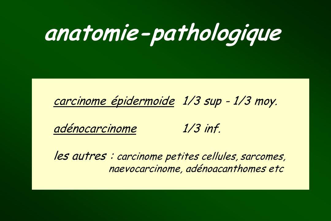 carcinome épidermoide1/3 sup - 1/3 moy. adénocarcinome 1/3 inf. les autres : carcinome petites cellules, sarcomes, naevocarcinome, adénoacanthomes etc