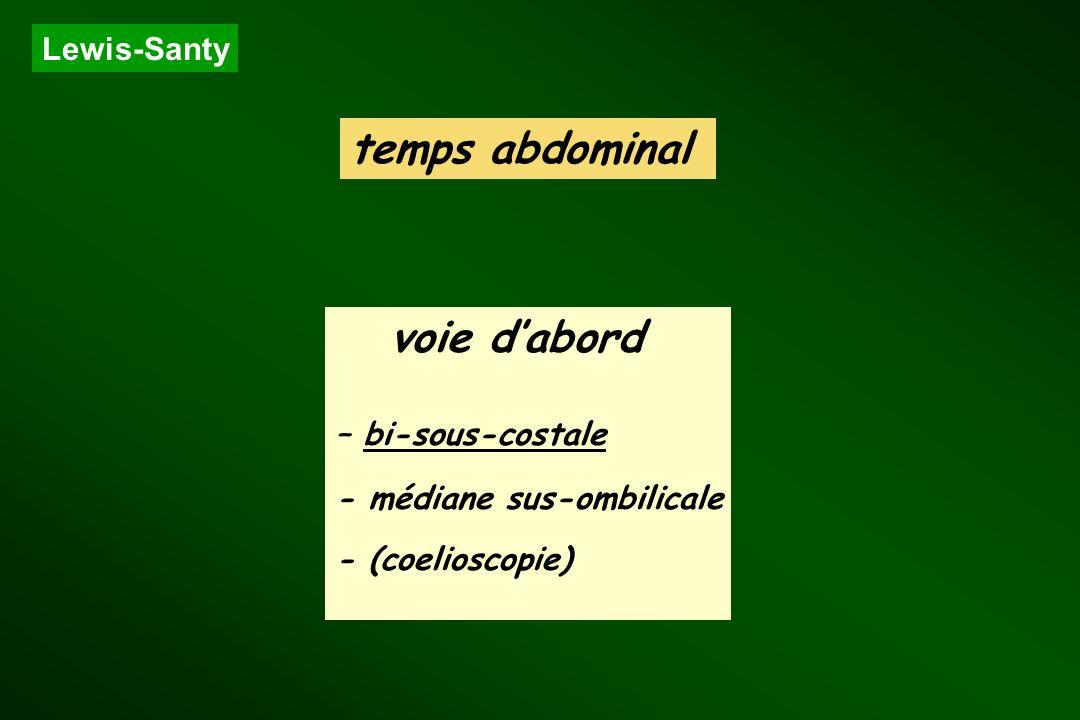 Lewis-Santy temps abdominal voie dabord – bi-sous-costale - médiane sus-ombilicale - (coelioscopie)