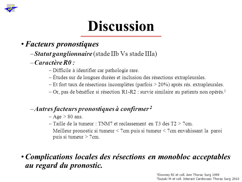 Discussion Ttt adjuvants 1,2 –Recommandation de grade Ia : chimio adjuvante (à base de cisplatine) dans les stades II et III après R0 : gain de 10% de survie.