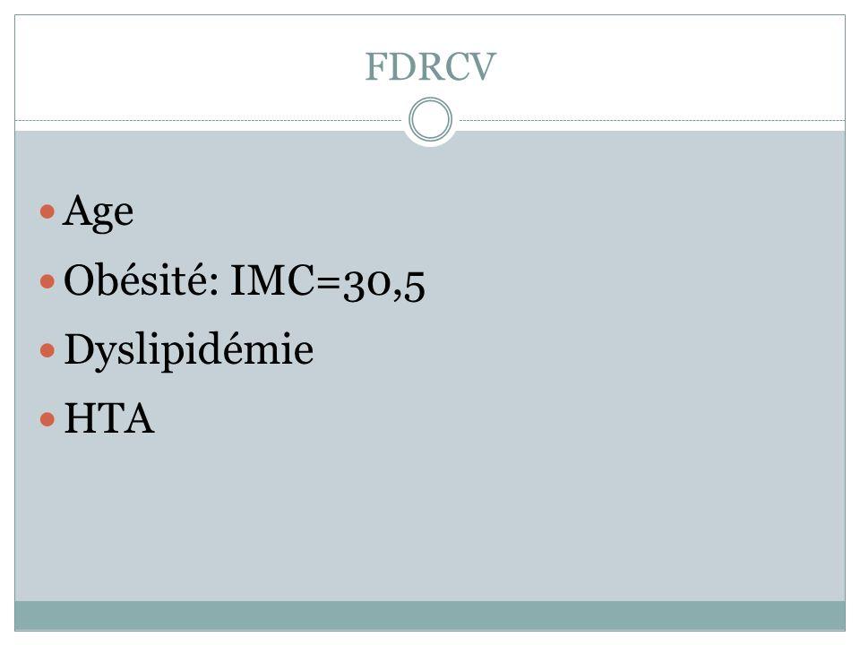 FDRCV Age Obésité: IMC=30,5 Dyslipidémie HTA