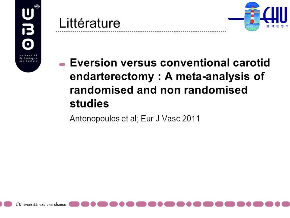Littérature Eversion versus conventional carotid endarterectomy : A meta-analysis of randomised and non randomised studies Antonopoulos et al; Eur J V