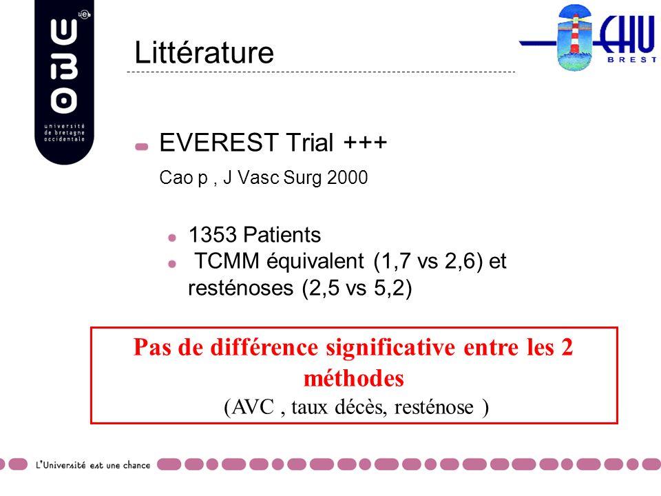 Littérature EVEREST Trial +++ Cao p, J Vasc Surg 2000 1353 Patients TCMM équivalent (1,7 vs 2,6) et resténoses (2,5 vs 5,2) Pas de différence signific