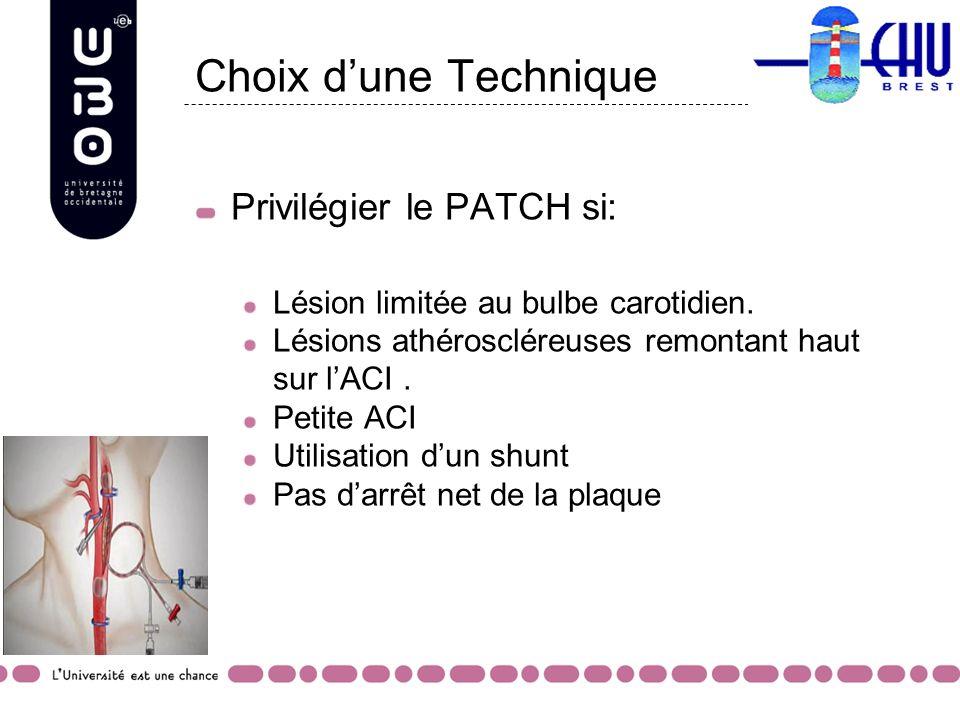 Choix dune Technique Privilégier le PATCH si: Lésion limitée au bulbe carotidien. Lésions athéroscléreuses remontant haut sur lACI. Petite ACI Utilisa