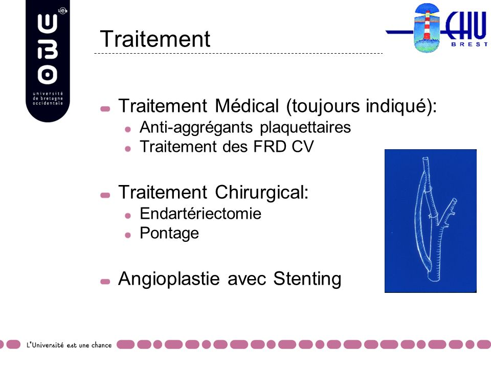 Traitement Traitement Médical (toujours indiqué): Anti-aggrégants plaquettaires Traitement des FRD CV Traitement Chirurgical: Endartériectomie Pontage