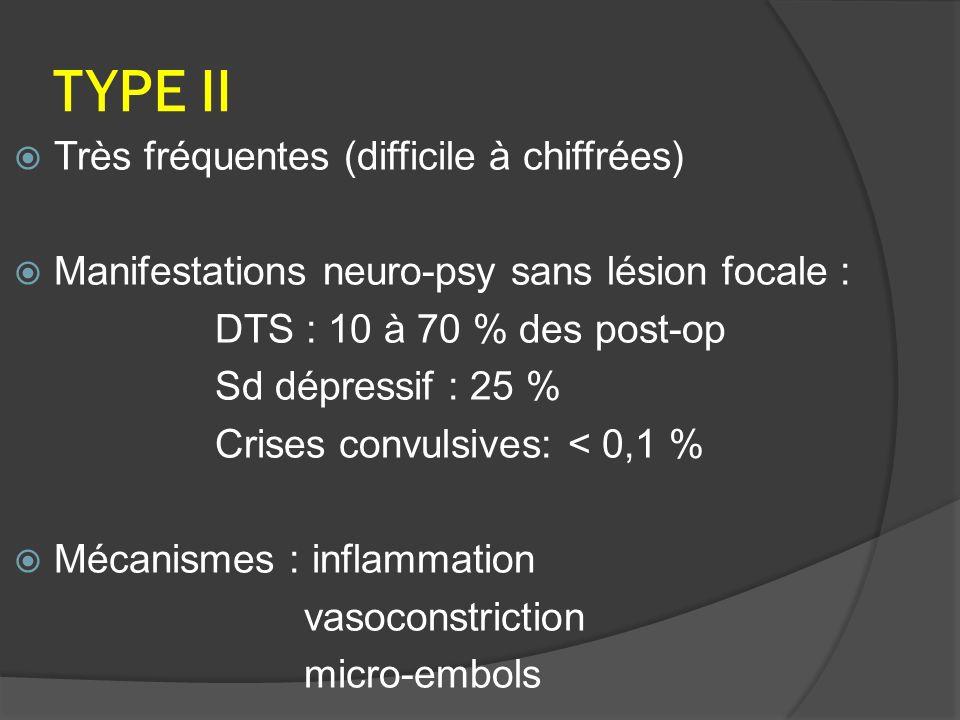 TYPE II Très fréquentes (difficile à chiffrées) Manifestations neuro-psy sans lésion focale : DTS : 10 à 70 % des post-op Sd dépressif : 25 % Crises convulsives: < 0,1 % Mécanismes : inflammation vasoconstriction micro-embols