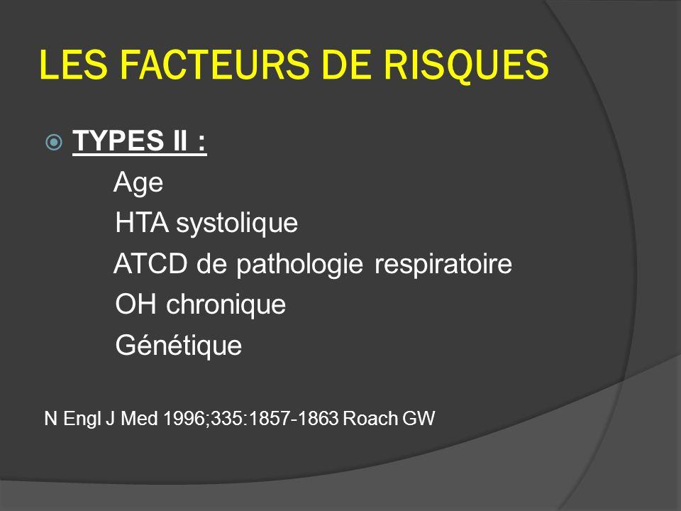 LES FACTEURS DE RISQUES TYPES II : Age HTA systolique ATCD de pathologie respiratoire OH chronique Génétique N Engl J Med 1996;335:1857-1863 Roach GW
