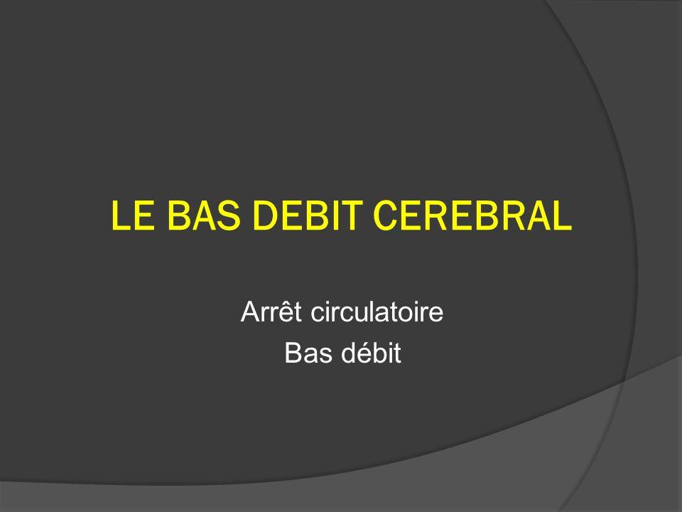 LE BAS DEBIT CEREBRAL Arrêt circulatoire Bas débit
