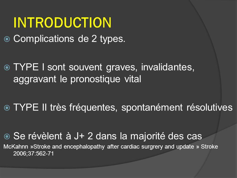 Macro emboles: Cruorique Gaz Lipidique Concerne vaisseaux > 200μm 80% des causes de type I Ahnonen « Brain injury after adult cardiacsurgery.