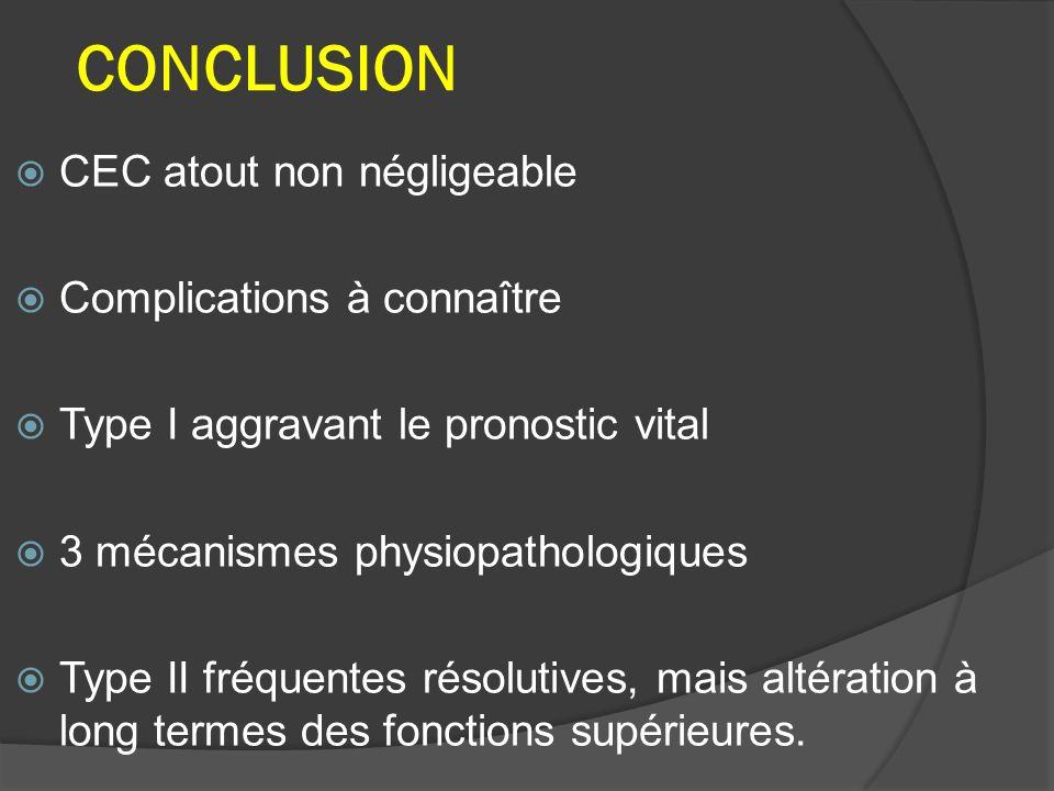 CONCLUSION CEC atout non négligeable Complications à connaître Type I aggravant le pronostic vital 3 mécanismes physiopathologiques Type II fréquentes résolutives, mais altération à long termes des fonctions supérieures.