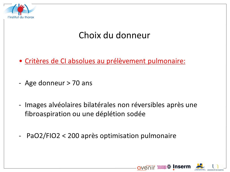 Choix du donneur Critères de CI absolues au prélèvement pulmonaire: -Age donneur > 70 ans -Images alvéolaires bilatérales non réversibles après une fi