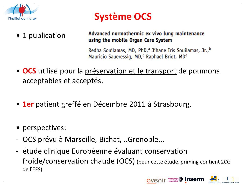 Système OCS 1 publication OCS utilisé pour la préservation et le transport de poumons acceptables et acceptés. 1er patient greffé en Décembre 2011 à S