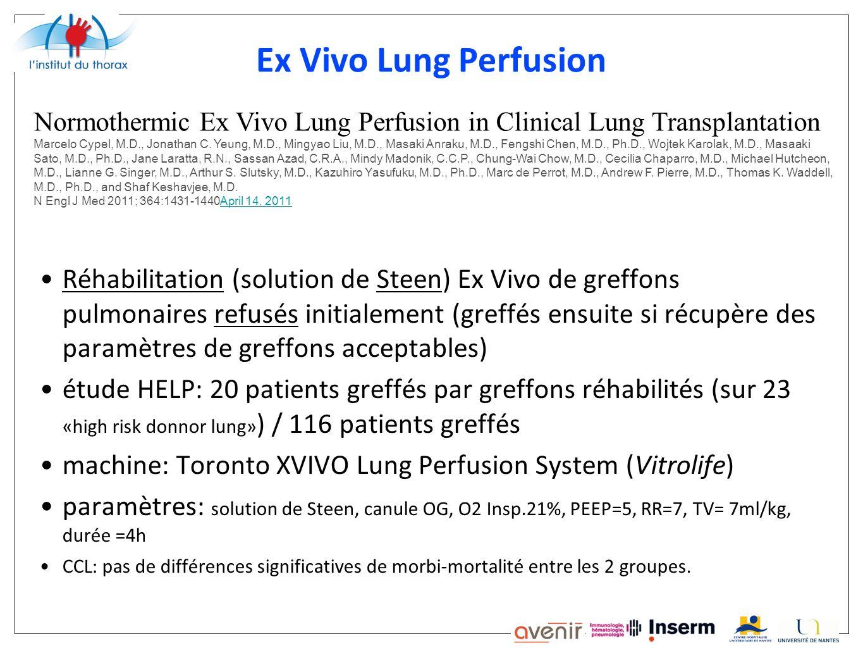 Ex Vivo Lung Perfusion Réhabilitation (solution de Steen) Ex Vivo de greffons pulmonaires refusés initialement (greffés ensuite si récupère des paramè