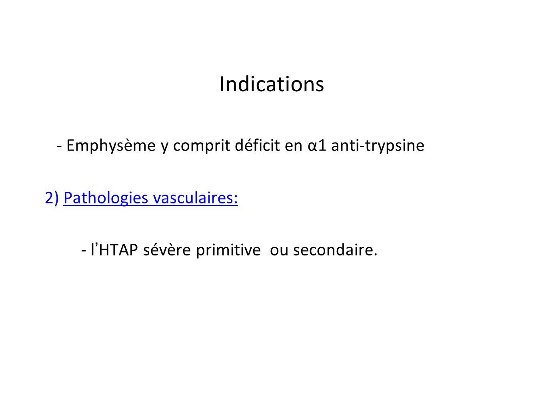 Indications - Emphysème y comprit déficit en α1 anti-trypsine 2) Pathologies vasculaires: - l HTAP sévère primitive ou secondaire.