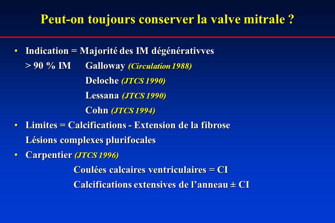 Peut-on toujours conserver la valve mitrale ? Indication = Majorité des IM dégénérativvesIndication = Majorité des IM dégénérativves > 90 % IM Gallowa