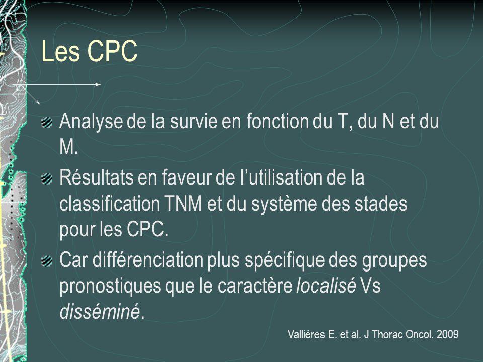 Les CPC Analyse de la survie en fonction du T, du N et du M. Résultats en faveur de lutilisation de la classification TNM et du système des stades pou