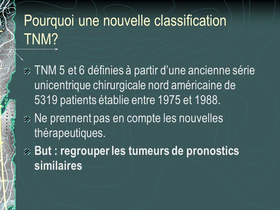 Pourquoi une nouvelle classification TNM? TNM 5 et 6 définies à partir dune ancienne série unicentrique chirurgicale nord américaine de 5319 patients