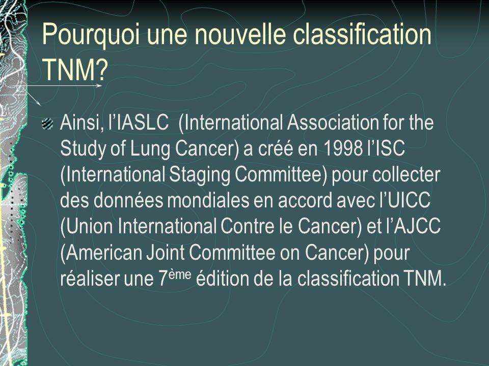Pourquoi une nouvelle classification TNM? Ainsi, lIASLC (International Association for the Study of Lung Cancer) a créé en 1998 lISC (International St