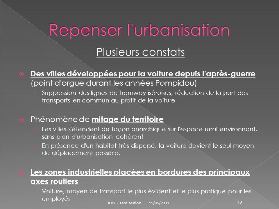 Plusieurs constats Des villes développées pour la voiture depuis l'après-guerre (point d'orgue durant les années Pompidou) Suppression des lignes de t