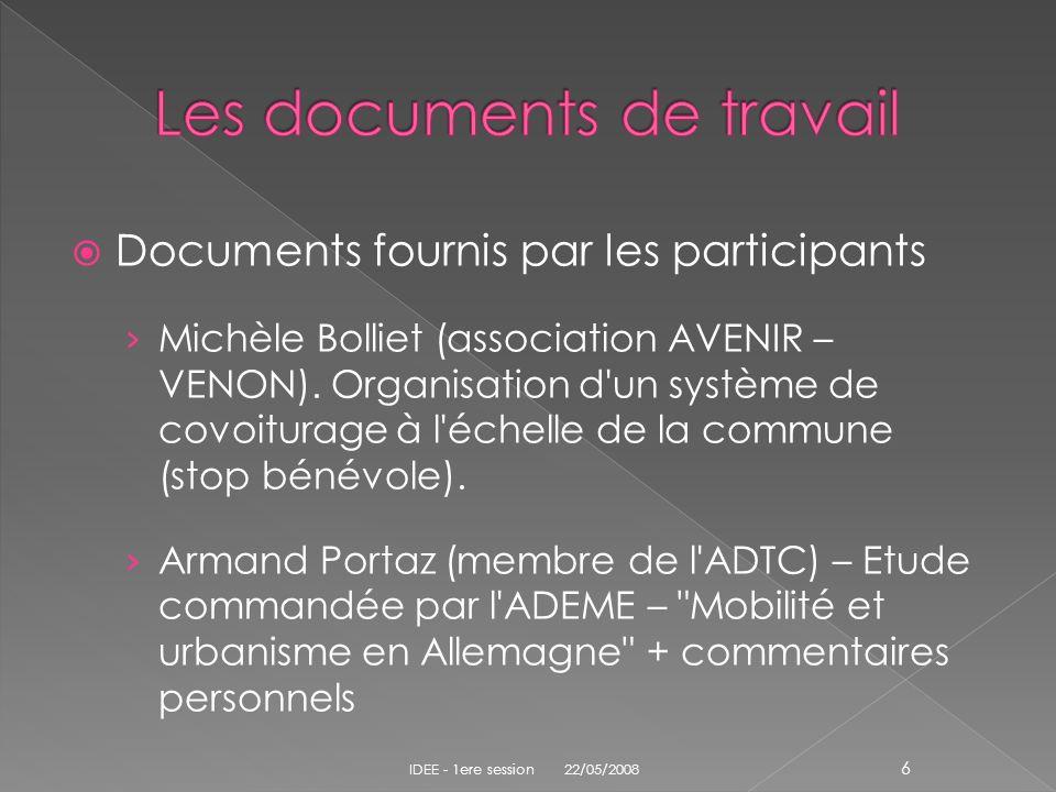 Documents fournis par les participants Michèle Bolliet (association AVENIR – VENON). Organisation d'un système de covoiturage à l'échelle de la commun