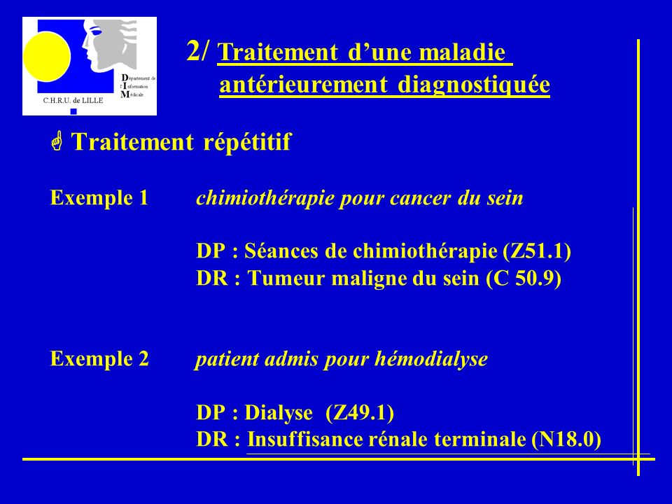 Traitement répétitif Exemple 1 chimiothérapie pour cancer du sein DP : Séances de chimiothérapie (Z51.1) DR : Tumeur maligne du sein (C 50.9) Exemple 2 patient admis pour hémodialyse DP : Dialyse (Z49.1) DR : Insuffisance rénale terminale (N18.0) 2/ Traitement dune maladie antérieurement diagnostiquée