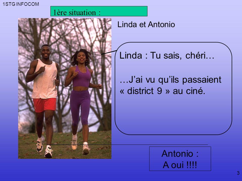 1STG INFOCOM 3 Linda : Tu sais, chéri… …Jai vu quils passaient « district 9 » au ciné.