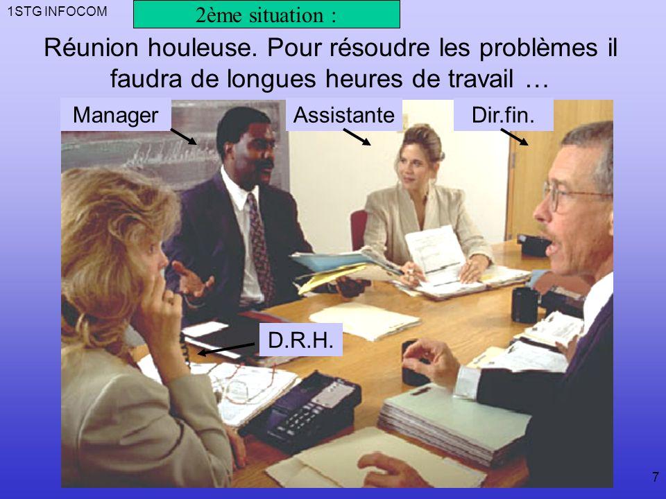 1STG INFOCOM 7 ManagerAssistanteDir.fin.D.R.H. Réunion houleuse.