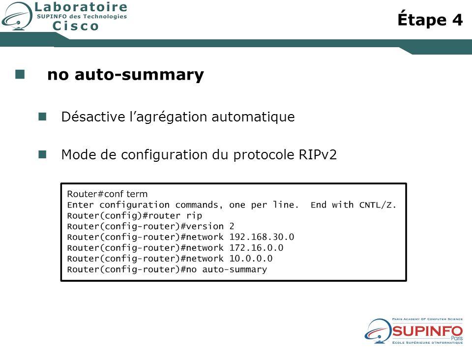 Étape 4 no auto-summary Désactive lagrégation automatique Mode de configuration du protocole RIPv2