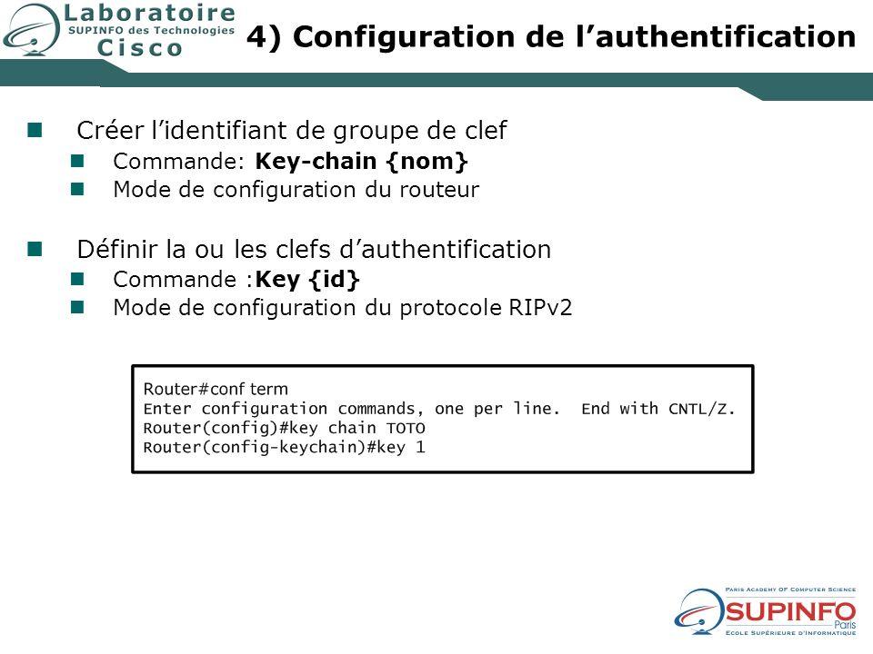 4) Configuration de lauthentification Créer lidentifiant de groupe de clef Commande: Key-chain {nom} Mode de configuration du routeur Définir la ou les clefs dauthentification Commande :Key {id} Mode de configuration du protocole RIPv2